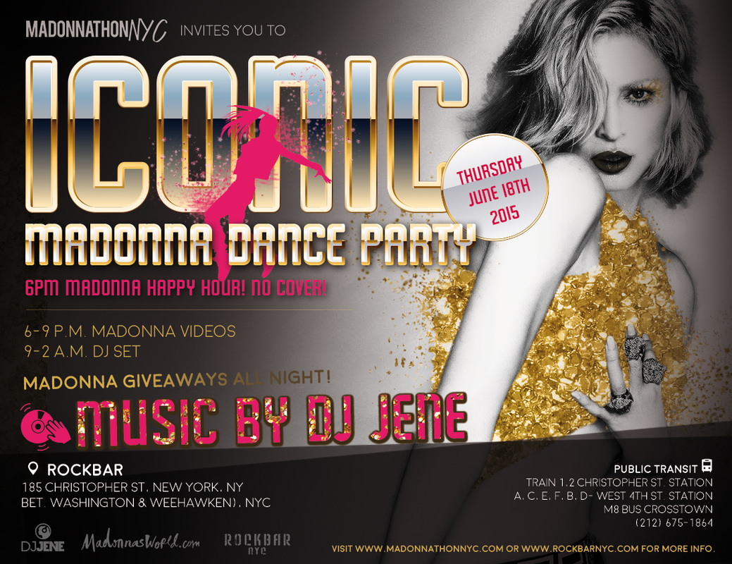 Iconic Madonna Dance Party flyer - June 18th 2015